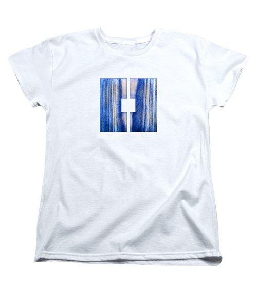 Split Square Blue Women's T-Shirt (Standard Cut) by YoPedro