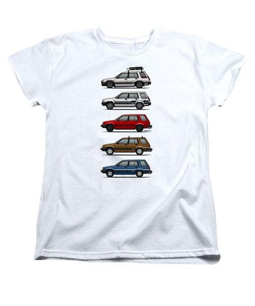 Stack Of Toyota Tercel Sr5 4wd Al25 Wagons Women's T-Shirt (Standard Cut) by Monkey Crisis On Mars