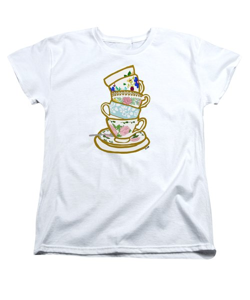 Stacked Teacups Women's T-Shirt (Standard Cut) by Priscilla Wolfe