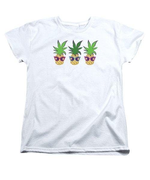 Summer Pineapples Wearing Retro Sunglasses Women's T-Shirt (Standard Cut) by MM Anderson