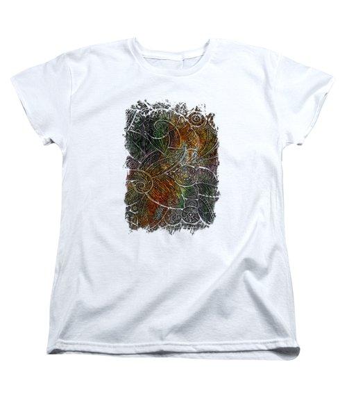 Swan Dance Muted Rainbow 3 Dimensional Women's T-Shirt (Standard Cut) by Di Designs