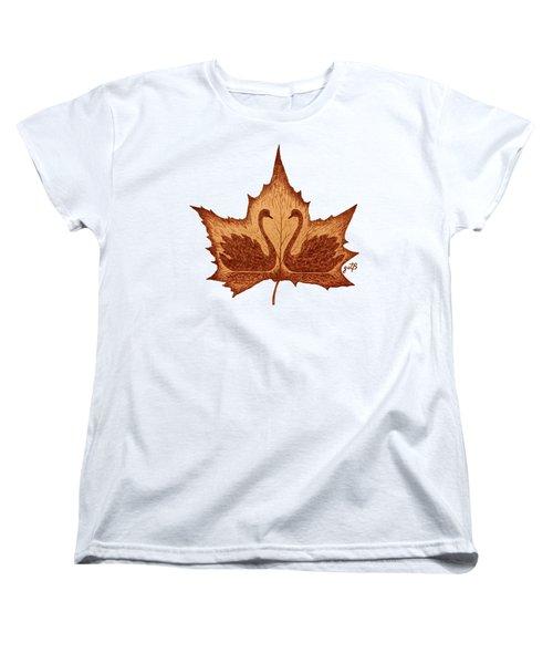 Swans Love On Maple Leaf Original Coffee Painting Women's T-Shirt (Standard Cut) by Georgeta Blanaru