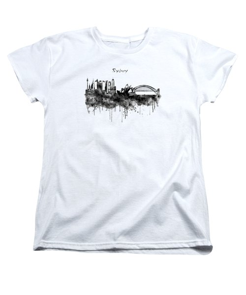 Sydney Black And White Watercolor Skyline Women's T-Shirt (Standard Cut) by Marian Voicu