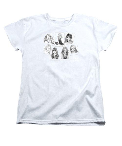 Taylor Swift Collage Women's T-Shirt (Standard Cut) by Murphy Elliott