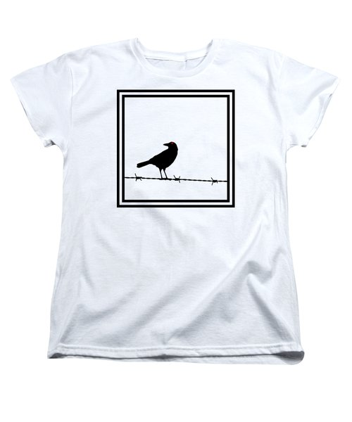 The Black Crow Knows T-shirt Women's T-Shirt (Standard Cut) by Edward Fielding