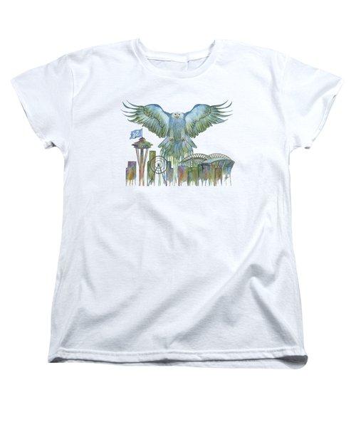 The Blue And Green Overlay Women's T-Shirt (Standard Cut) by Julie Senf