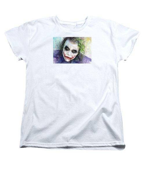 The Joker Watercolor Women's T-Shirt (Standard Cut) by Olga Shvartsur