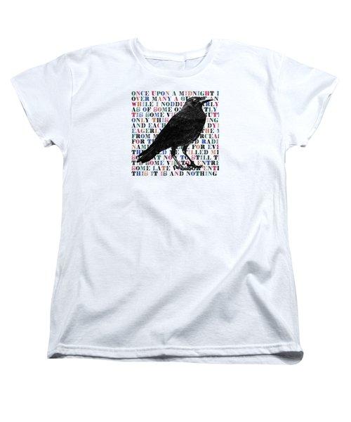 The Raven Poem Art Print Women's T-Shirt (Standard Cut) by Sandra McGinley