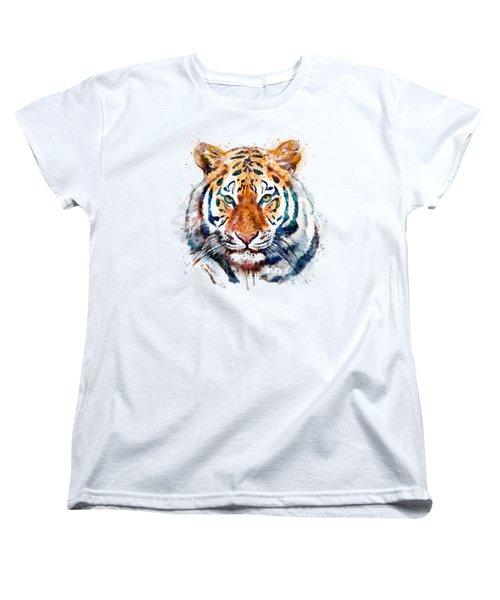Tiger Head Watercolor Women's T-Shirt (Standard Cut) by Marian Voicu