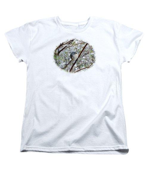 Titmouse On Snowy Branch Women's T-Shirt (Standard Cut) by Larry Bishop