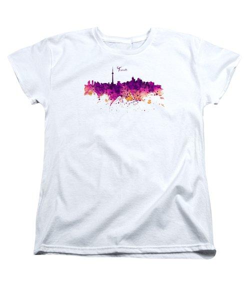Toronto Watercolor Skyline Women's T-Shirt (Standard Cut) by Marian Voicu