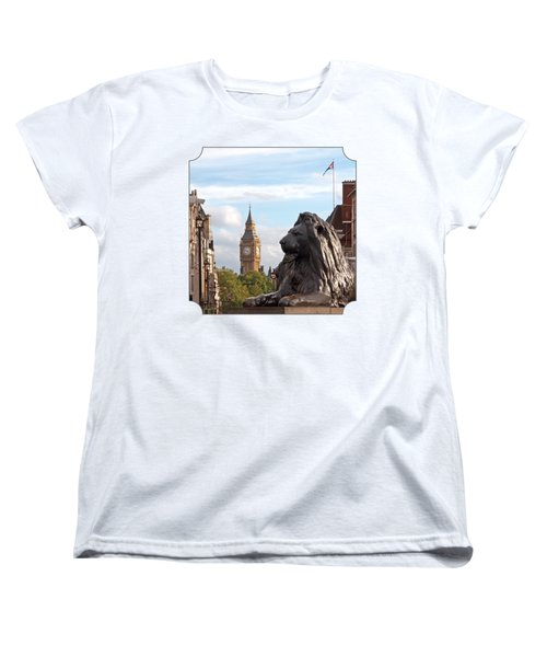 Trafalgar Square Lion With Big Ben Women's T-Shirt (Standard Cut) by Gill Billington