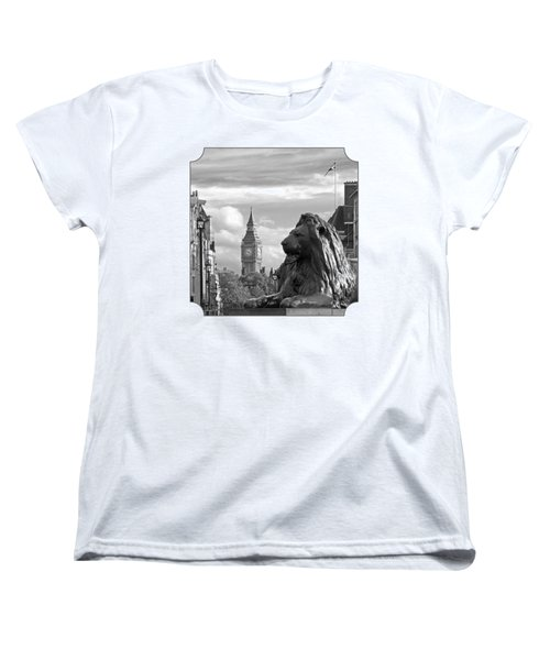 Trafalgar Square Lion With Big Ben In Black And White Women's T-Shirt (Standard Cut) by Gill Billington