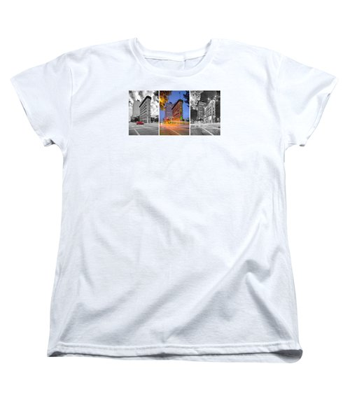 Triptych Of The Flatiron Building In Downtown Fort Worth - Texas  Women's T-Shirt (Standard Cut) by Silvio Ligutti