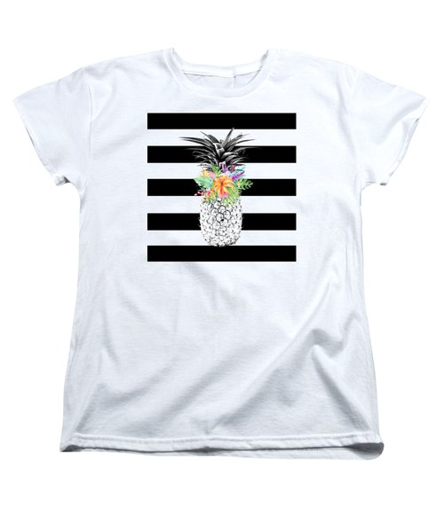 Tropical Flower Pineapple Black And White Stripes Women's T-Shirt (Standard Cut) by Dushi Designs