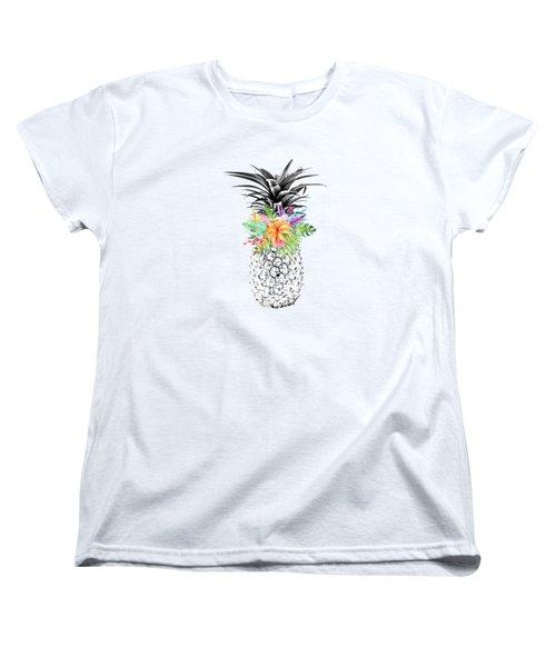 Tropical Pineapple Flowers Aqua Women's T-Shirt (Standard Cut) by Dushi Designs