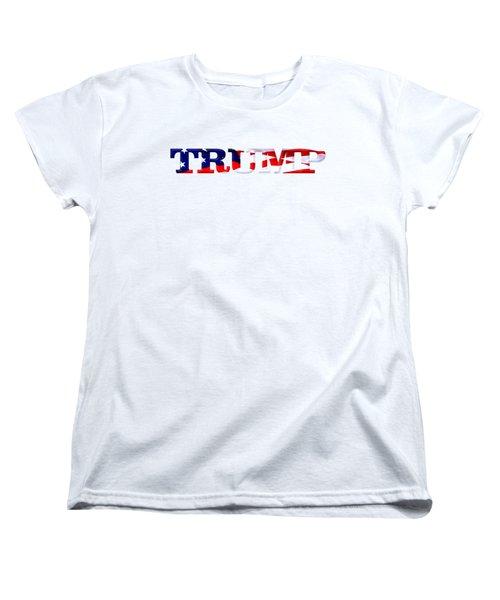 Trump - Fort Mchenry Flag Overlay Women's T-Shirt (Standard Cut) by William Bartholomew