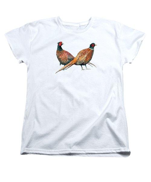 Two Pheasants Back To Back Women's T-Shirt (Standard Cut) by Richard Skilton
