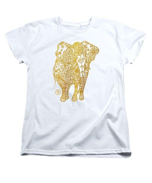 Unique Golden Elephant Art Drawing By Megan Duncanson Women's T-Shirt (Standard Cut) by Megan Duncanson
