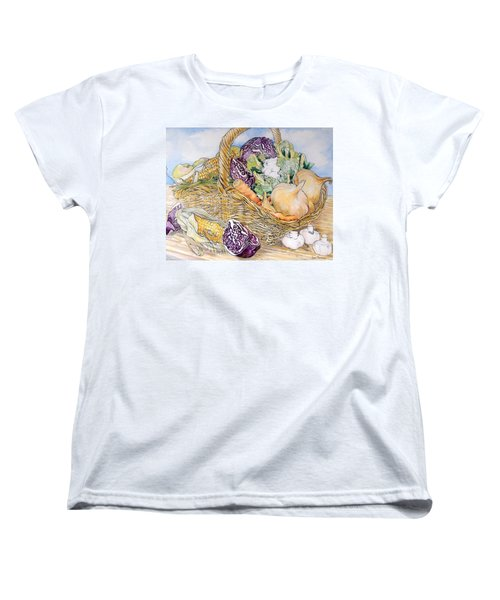 Vegetables In A Basket Women's T-Shirt (Standard Cut) by Joan Thewsey