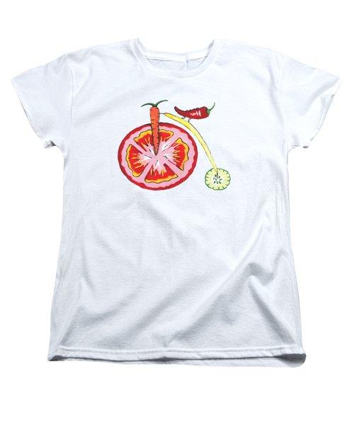 Veggie Bike Women's T-Shirt (Standard Cut) by Kathleen Sartoris