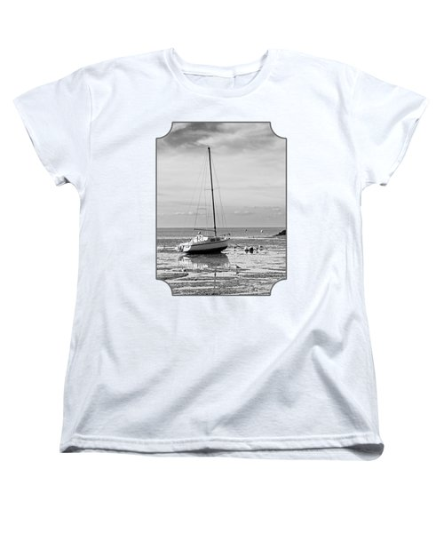 Waiting For High Tide Black And White Women's T-Shirt (Standard Cut) by Gill Billington