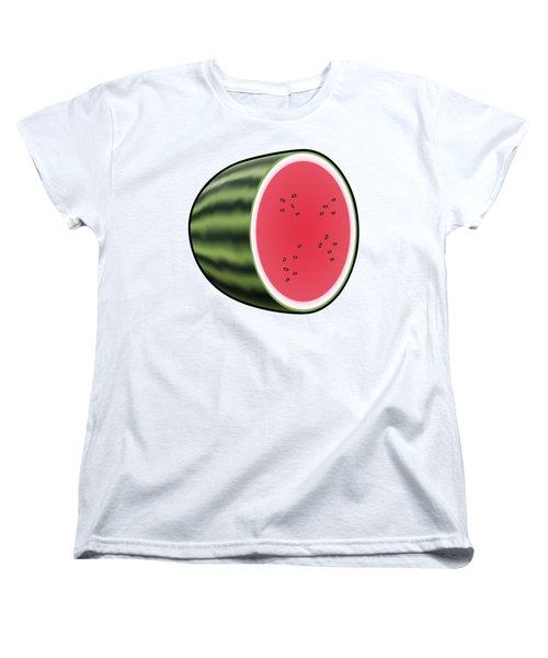 Water Melon Outlined Women's T-Shirt (Standard Cut) by Miroslav Nemecek