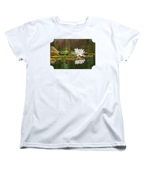 White Water Lily With Damselflies Women's T-Shirt (Standard Cut) by Gill Billington