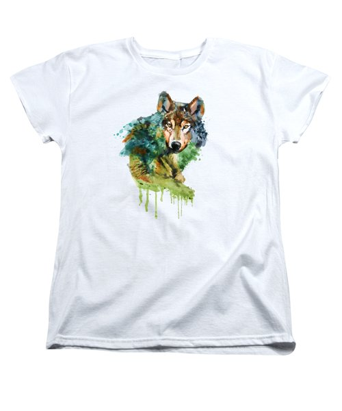 Wolf Face Watercolor Women's T-Shirt (Standard Cut) by Marian Voicu