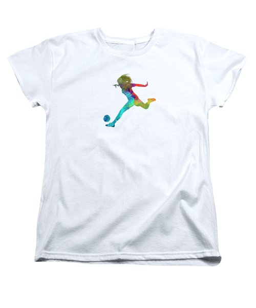 Woman Soccer Player 01 In Watercolor Women's T-Shirt (Standard Cut) by Pablo Romero