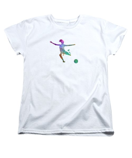 Woman Soccer Player 03 In Watercolor Women's T-Shirt (Standard Cut) by Pablo Romero