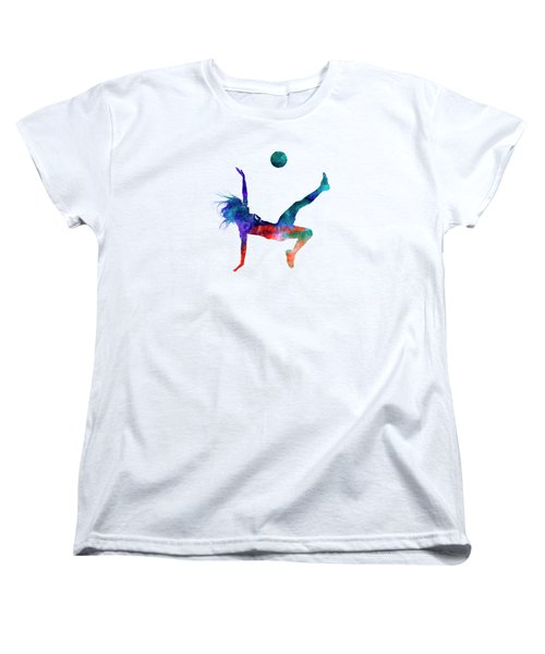 Woman Soccer Player 08 In Watercolor Women's T-Shirt (Standard Cut) by Pablo Romero