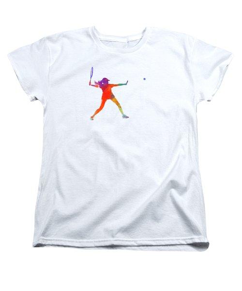 Woman Tennis Player 01 In Watercolor Women's T-Shirt (Standard Cut) by Pablo Romero