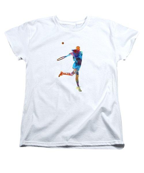 Woman Tennis Player 03 In Watercolor Women's T-Shirt (Standard Cut) by Pablo Romero