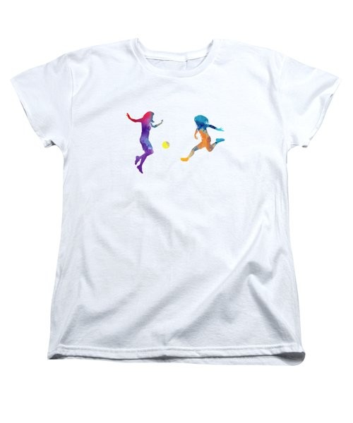 Women Soccer Players 01 In Watercolor Women's T-Shirt (Standard Cut) by Pablo Romero