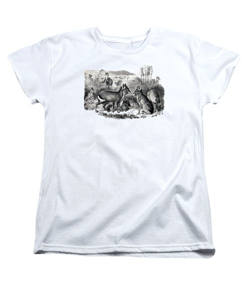 woodcut drawing of South American Maras Women's T-Shirt (Standard Cut) by The one eyed Raven
