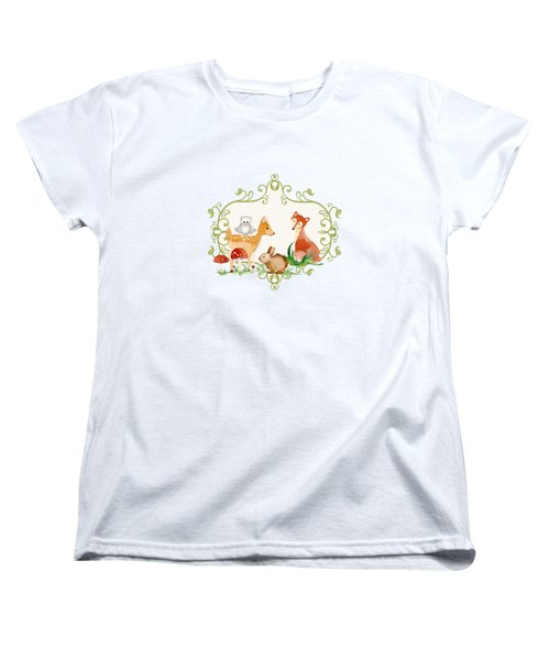 Woodland Fairytale - Grey Animals Deer Owl Fox Bunny N Mushrooms Women's T-Shirt (Standard Cut) by Audrey Jeanne Roberts