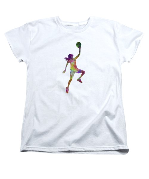 Young Woman Basketball Player 02 In Watercolor Women's T-Shirt (Standard Cut) by Pablo Romero