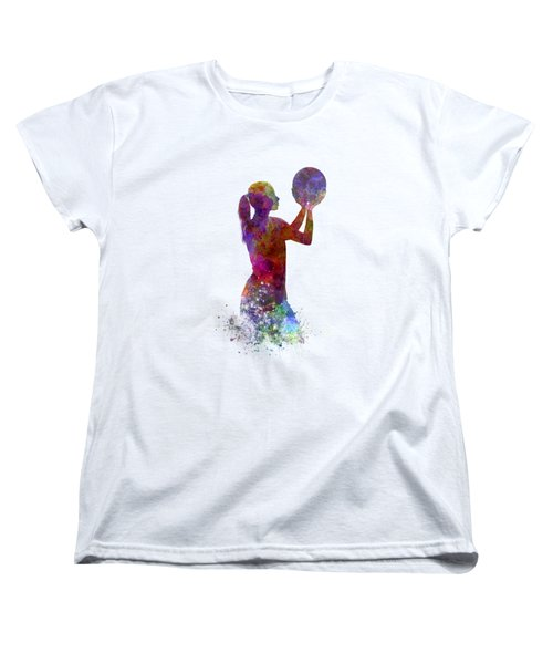 Young Woman Basketball Player 03 In Watercolor Women's T-Shirt (Standard Cut) by Pablo Romero