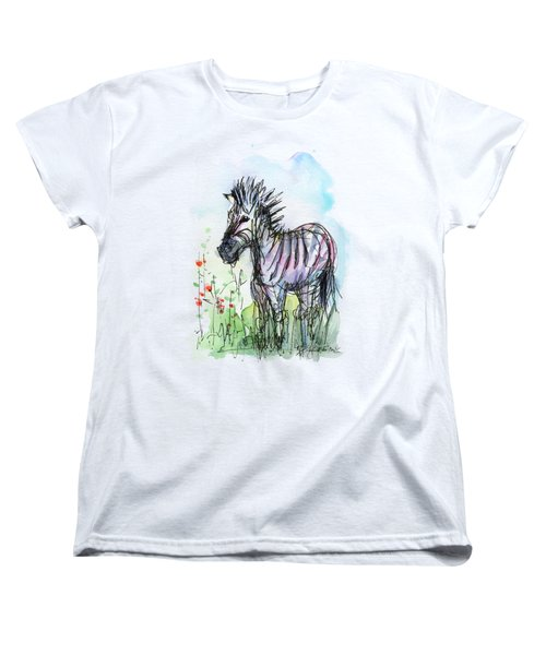 Zebra Painting Watercolor Sketch Women's T-Shirt (Standard Cut) by Olga Shvartsur
