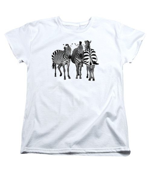 Zebra - Three's A Crowd Women's T-Shirt (Standard Cut) by Gill Billington