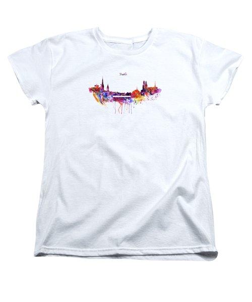 Zurich Skyline Women's T-Shirt (Standard Cut) by Marian Voicu