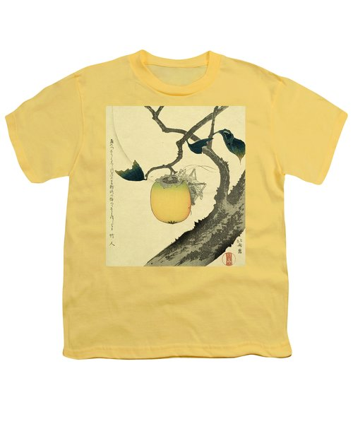 Moon Persimmon And Grasshopper Youth T-Shirt by Katsushika Hokusai