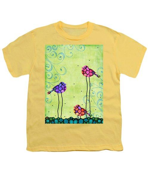 Three Birds - Spring Art By Sharon Cummings Youth T-Shirt by Sharon Cummings
