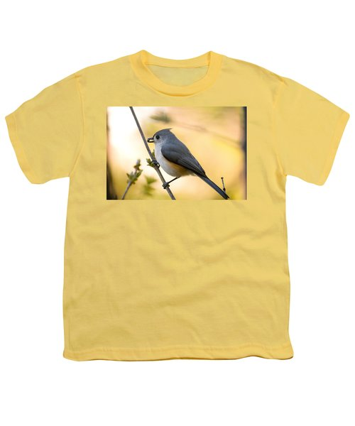 Titmouse In Gold Youth T-Shirt by Shane Holsclaw