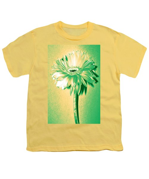 Touch Of Turquoise Zinnia Youth T-Shirt by Sherry Allen