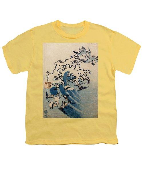 Waves And Birds Youth T-Shirt by Katsushika Hokusai