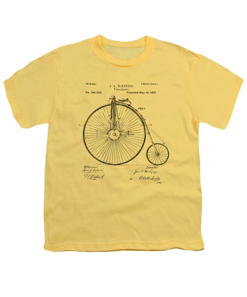 1881 Velocipede Bicycle Patent Artwork - Vintage Youth T-Shirt by Nikki Marie Smith