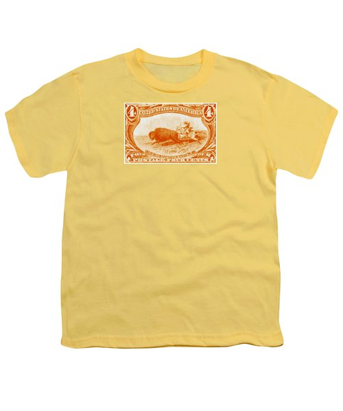 1898 Indian Hunting Buffalo Youth T-Shirt by Historic Image
