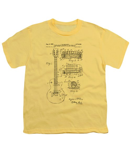 1955 Mccarty Gibson Les Paul Guitar Patent Artwork Vintage Youth T-Shirt by Nikki Marie Smith